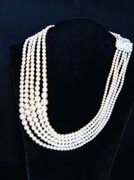 pearl string necklace images 1950s 5 string graduated pearl necklace wedding bride jewels past jpg