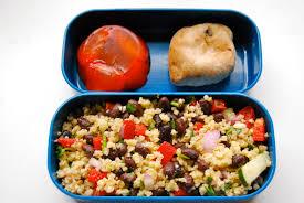 cuisine milet bento with millet salad and strawberry agar agar dessert back