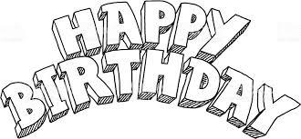 happy birthday lettering drawing stock vector art 165926207 istock