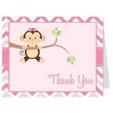 thank you cards baby shower monkey thank you cards baby shower monkey business pink girl