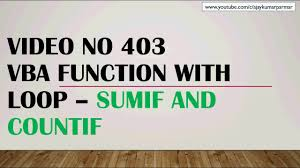 Countif Sumif Minif Learn Ms Excel 403 Vba Loop With Functions Countif Sumif