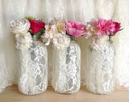 Mason Jar Vases Wedding 3 Ivory Lace Covered Ball Mason Jar Half Gallon Vases Wedding