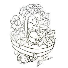 coloriage panier de fleurs a imprimer gratuit broderie fleurs