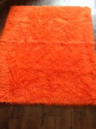 Mongolian Faux Fur Rug Orange Ex Large Faux Sheepskin Shaggy Mongolian Faux Fur Rug