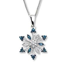 kay jewelers open heart kay snowflake necklace blue u0026 white diamonds sterling silver