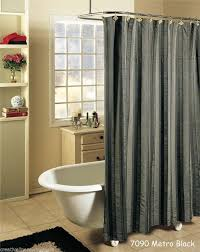 Modern Bathroom Shower Curtains by Modern Bathroom With Dark Grey Fabric Shower Curtain And White