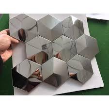 Stainless Steel Mosaic Tile Backsplash by Metal Mosaic Tile Stainless Steel Tile Pyramid Patterns Kitchen