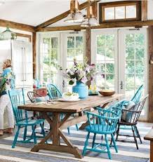 turquoise chairs bhg mix of diffe chairs all painted same color