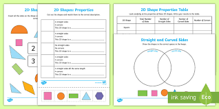 worksheet shapes range properties of 2d shapes worksheet activity sheets 2d