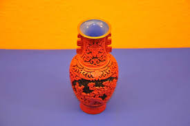 Red Lacquer Vase Chinese Red Lacquer Vase Carved Lacquer At Shop Kusera