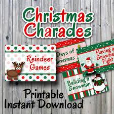christmas charades printable pdf party game printable