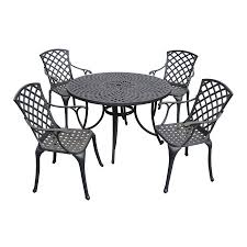 crosley furniture sedona 5 piece black metal frame patio dining set