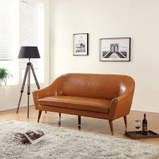 Leather Mid Century Chair Amazon Com Divano Roma Furniture Mid Century Modern Sofa