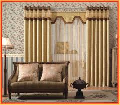 interior living room drape with valance using light brown and