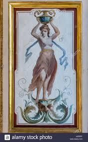 painted window blinds from villa farnesina rome italy stock