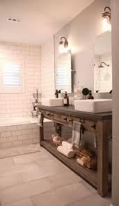 oval pivot bathroom mirror wooden vanity with elegant brick styled wall decor using chic pivot