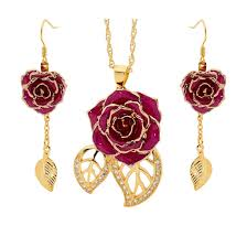 red necklace earrings set images Purple matching pendant and earring set leaf theme 24k gold jpg