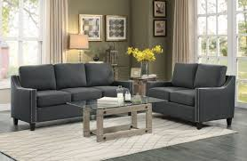 Gray Nailhead Sofa 8328 3 2 Pagosa Traditional Dark Grey Fabric Sofa Loveseat Set