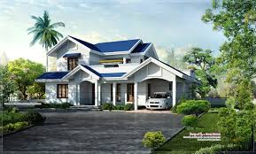 beautiful blue roof villa elevation in 2500 sq feet house design