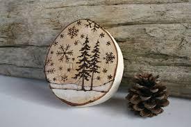 woodburning art on large birch round christmas pinterest