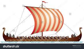 viking ship drakkar langskip viking age stock vector 240020623