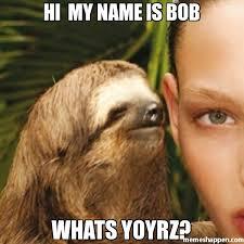 Hi My Name Is Meme - hi my name is bob whats yoyrz meme whisper sloth 25085