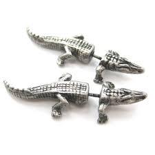 alligator crocodile animal shaped fake gauge plug earrings in