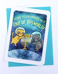 cat menorah hanukkah card space cats notecard menorah card cat