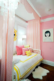 Light Pink Curtains For Nursery Hip Girly Bedroom With Baby Pink Colors Also Light Yellow Motifs