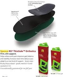 Spenco Comfort Insoles Spenco Rx Thinsole Thin Arch Support Insoles Full Length