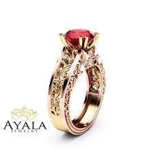 unique art deco engagement ring natural ruby engagement ring 14k