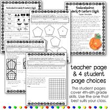 math activity dodecahedron jackolantern glyph and geometry worksheets