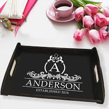 personalized serving tray monogram personalized serving tray espresso wood