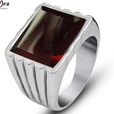 steel male rings images Sales simple design red stone ring for men 316l stainless steel jpg