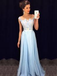 formal dresses affordable scoop neck blue chiffon tulle appliques lace floor