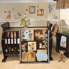 baby themes brown polished wooden cradle with animal theme bedding set plus