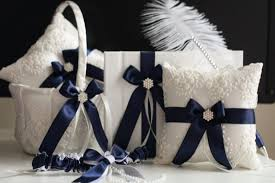 guest book and pen set navy blue wedding basket bearer pillows guest book with pen