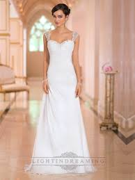 beaded cap sleeves sweetheart a line simple wedding dresses with