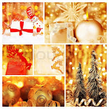 golden collage of tree decorations diversity of gold