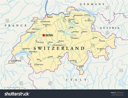 Map Of Asia With Capitals by Switzerland Political Map Capital Bern National Stock Vector