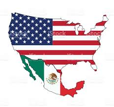 United States And Mexico Map by Flag Map Of Usa And Mexico Stock Vector Art 643539346 Istock