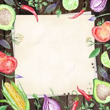 Wooden Kitchen Table Background Wood Table Background With Linen Paper Hand Painted Vegetable
