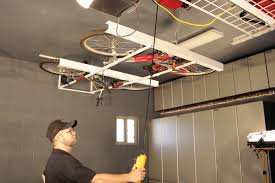 Bicycle Ceiling Hoist by Motorized Horizontal Double Bike Lift White Canada Garage