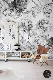 white peony removable wallpaper peonies wall mural black and