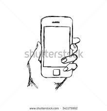 sketch hand holding mockup smartphone hand stock vector 717815308