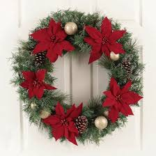 30 unlit poinsettia and ornaments artificial pine