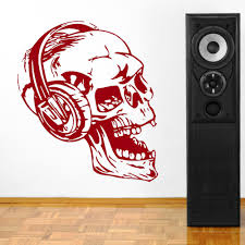 compare prices on headphones wall art online shopping buy low removable diy wall stickers skull with headphones wall art music wall art vinyl sticker decal bedroom