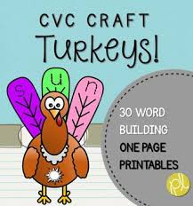 thanksgiving cvc craft turkey printables vowels literacy