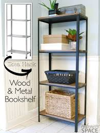 Wooden Shelf Building by Remodelaholic Wood And Metal Ikea Hack Industrial Shelf