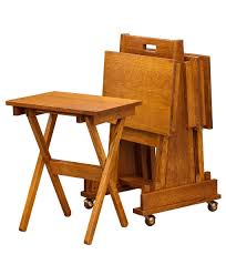Tv Table Mission Folding Tv Tray Set Amish Direct Furniture